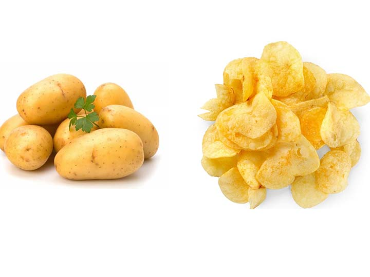 how many potatoes will get 1kg potato chips