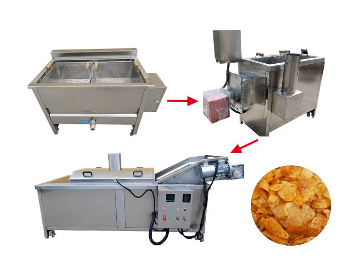 three kinds of potato chips frying machine