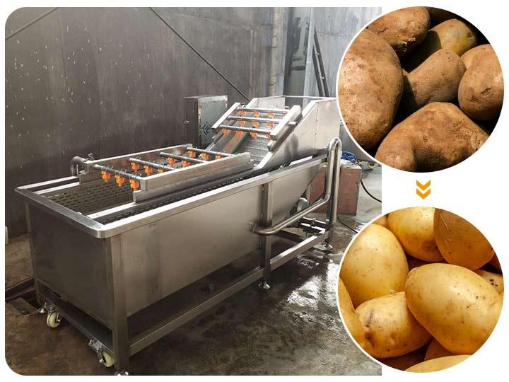 bubble type potato cleaning machine